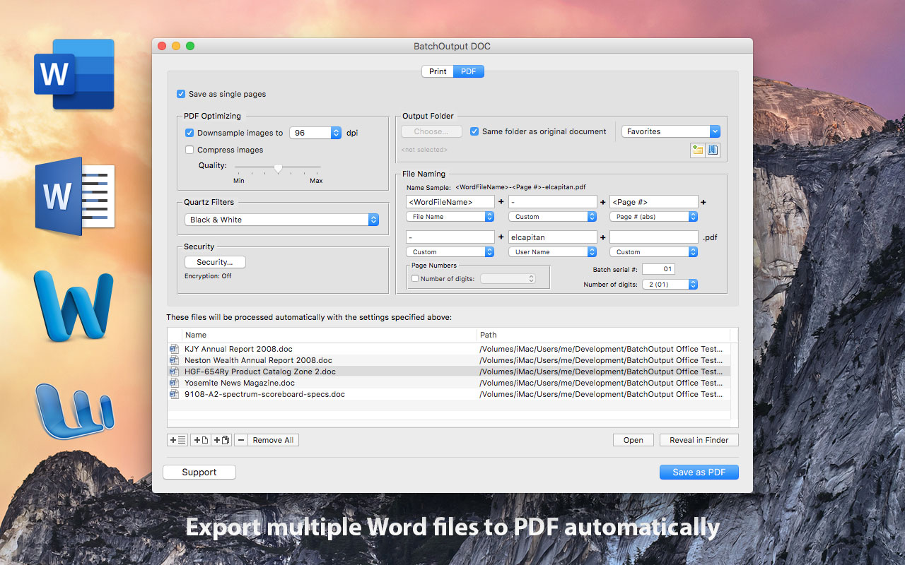 BatchOutput for Microsoft Word Now Supports PDF Automation in Word 16 Image