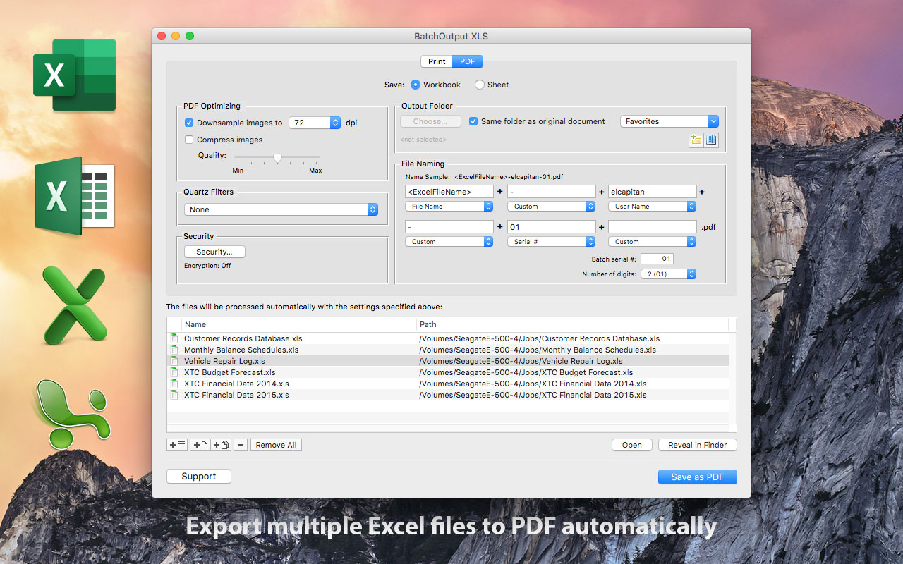 BatchOutput for Microsoft Excel Now Supports Mac OS X El Capitan Image
