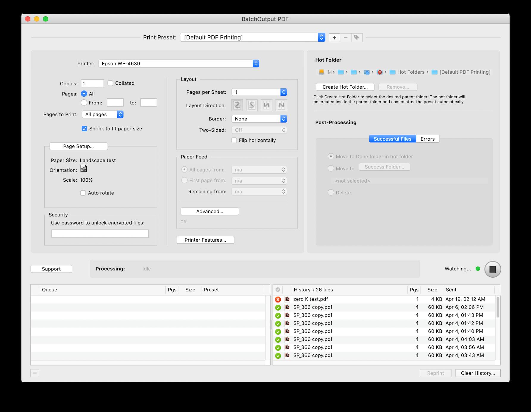 BatchOutput PDF for Mac screenshot