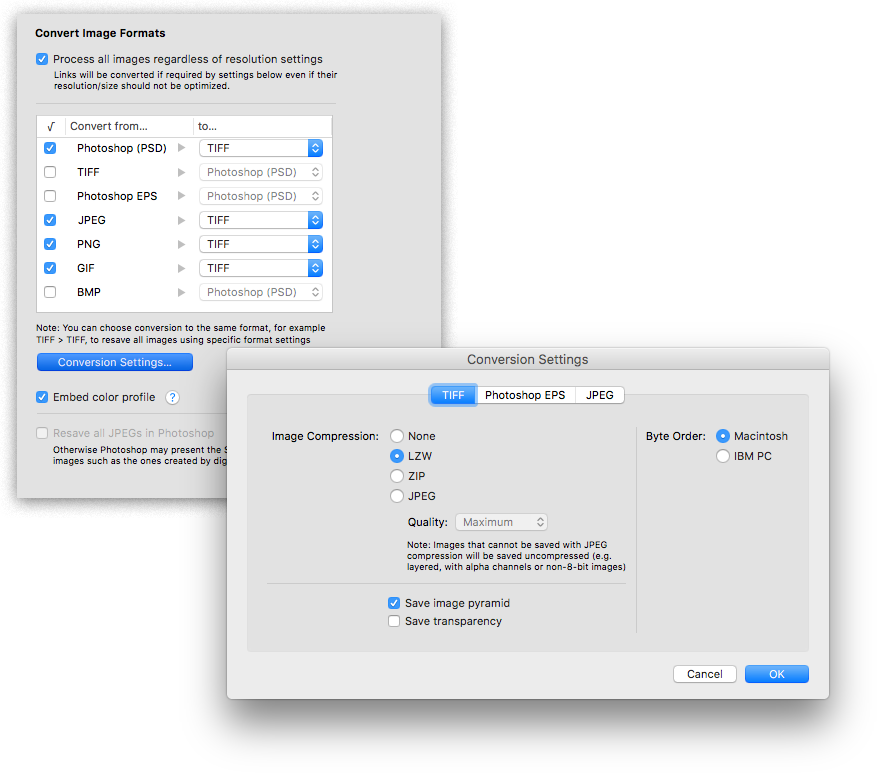 LinkOptimizer for InDesign: convert image formats screenshot
