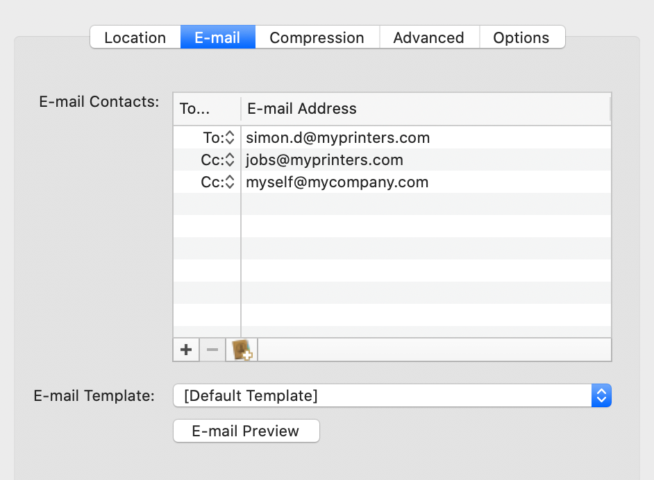 Deliver for Mac: email settings screenshot