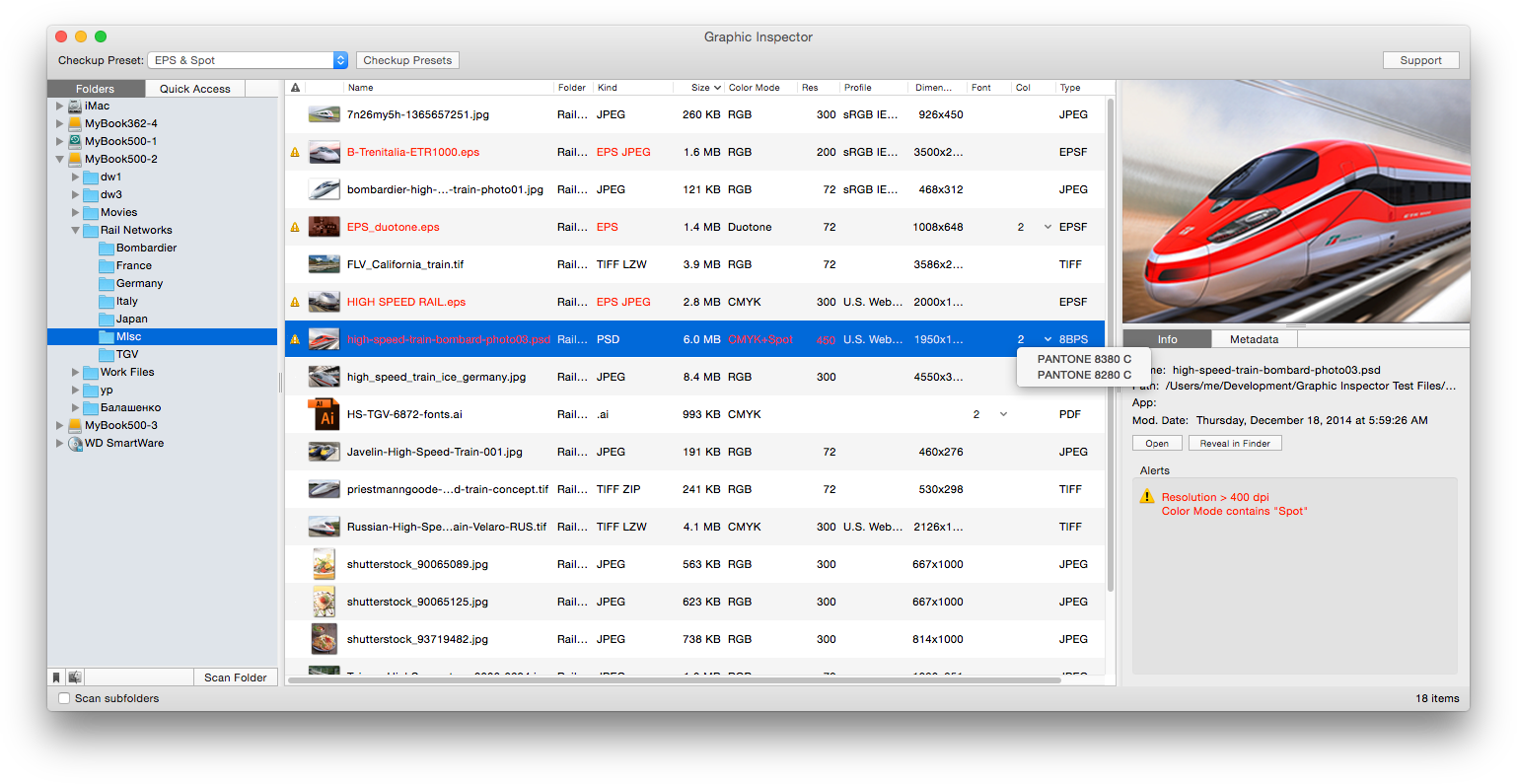 Graphic Inspector Now Reports Image Print Size: Graphics Preflight Tool Image