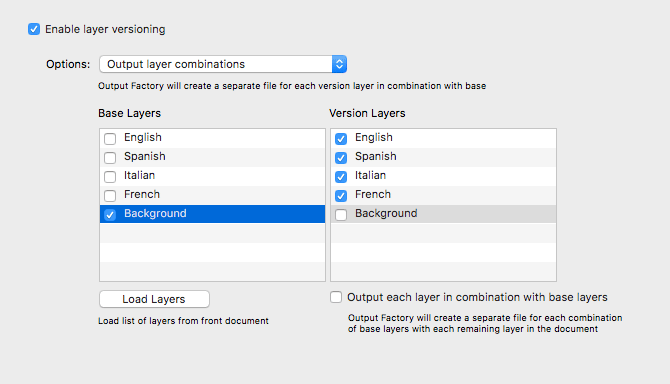 Output Factory for InDesign: layer versioning screenshot