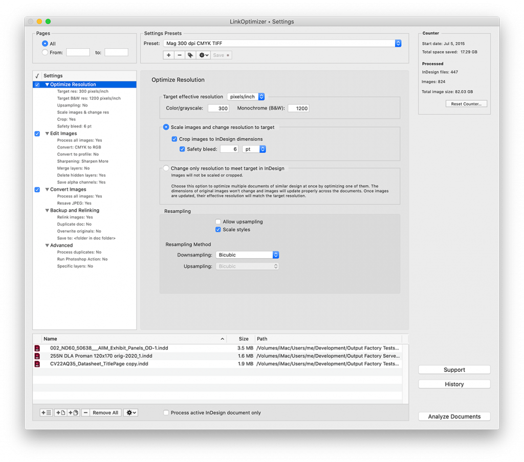 LinkOptimizer for InDesign: optimize resolution screenshot