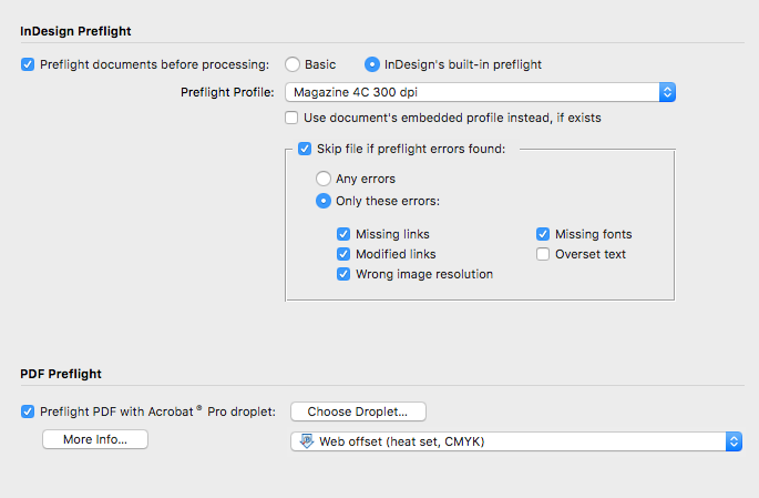 Output Factory for InDesign: preflight screenshot