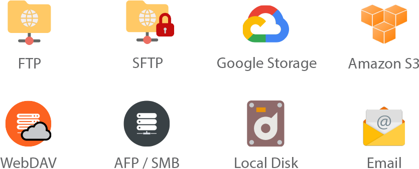 Deliver for Mac: FTP, SFTP and other services icons