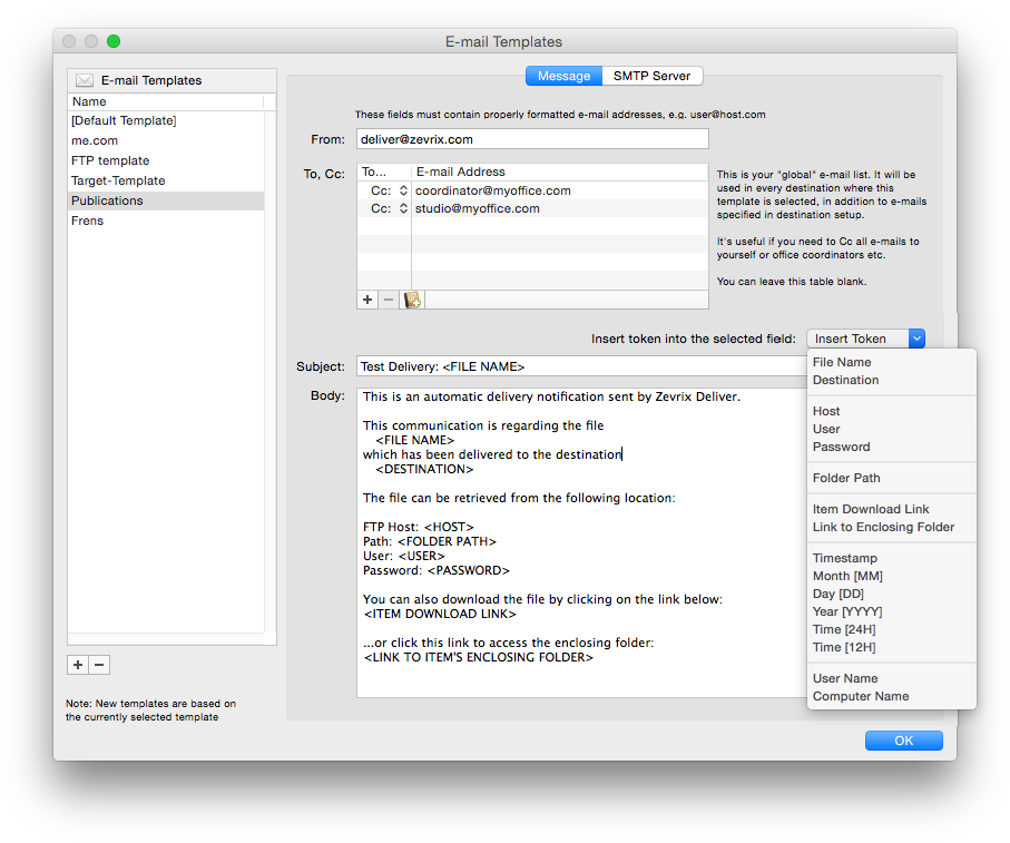 Deliver for Mac: Email templates screenshot