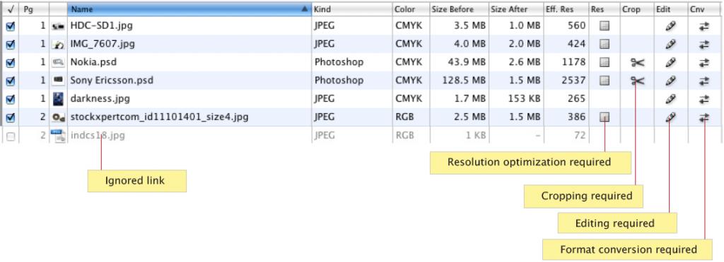 Optimized InDesign links screenshot