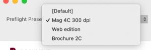 preflight presets popup menu